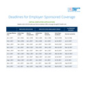 Deadlines for Employer-Sponsored Coverage
